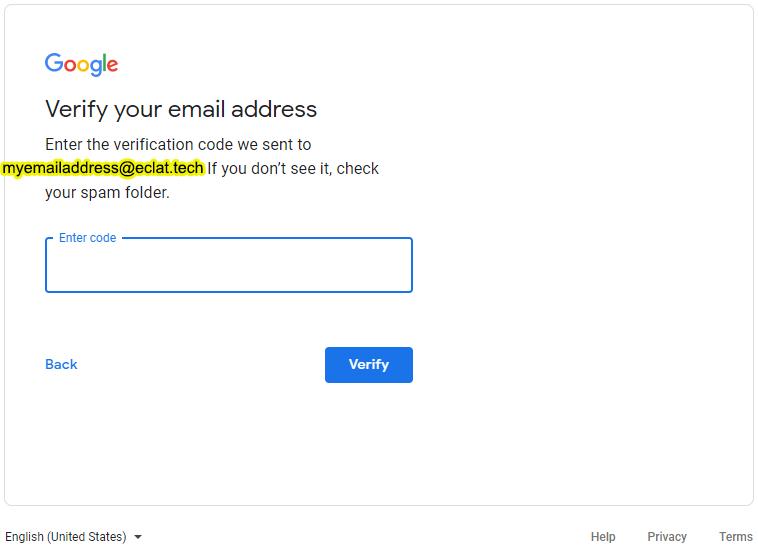 Google Account Creation Code Verification Page